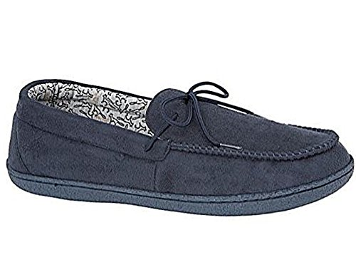 Mens New Hampshire Faux Suede Fur Lined Moccasin Slippers Shoes Size 7-12 (9 UK, Bosworth Navy)