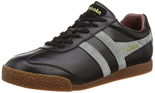Gola Harrier Leather, Herren Sneaker, Schwarz (Black/grey/burgundy), 41 EU (Retro Herren Classic Schuhe Leather)