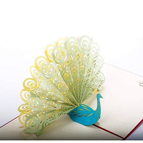 Liebsup 3D Peacock Pop Up Grußkarten Happy Birthday Karten mit Umschlägen für Geburtstag Brautjungfer Jahrestag Hochzeit Einladung Überraschungstag green peacock with red cover