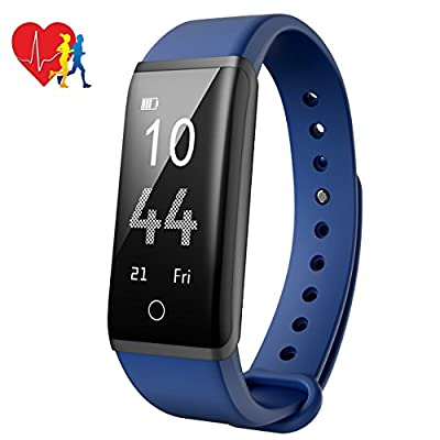 Fitness Tracker with Heart Rate Monitoring, Mpow H2 Pedometer with Steps Tracking, Calorie Burned, Distance Traveled, Route Painted, Wristwatch with Multiple Sport Modes, Call, Text and SNS Notifications, Adjustable Vibration Intensity from Mpow