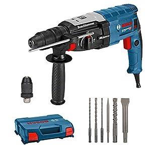 Bosch Professional GBH 2-28 F Martillo perforador, 880 vatios, perforación de hormigón de Ø máx: 28 mm, incl. juego de taladro-cincel de 6 piezas, SDS-plus, en L-Case, Amazon Edición, 800 W, Azul
