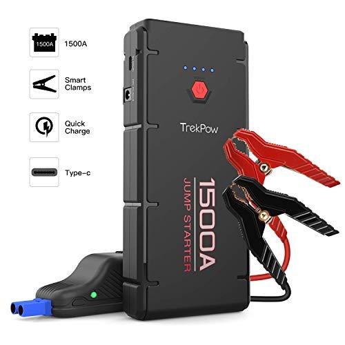 Booster Batterie Voiture Portable 1500A - TrekPow d'ABOX Jump Starter pour 12V Moto/Auto Essence et 6,5L Diesel, Chargeur/Démarreur de Batterie Voiture avec Câble de Démarrage Intelligent et Lampe...