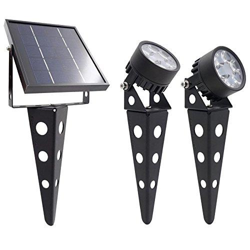Outdoor-finish (LEGACY Mini 50X Twin Solarbetriebener LED-Strahler (Warmweiß-LED), Schwarz-Finish, Outdoor-Garten-Hof-Landschaft-Downlight)