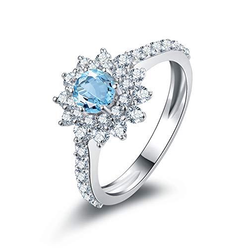 AmDxD 925 Silber Damen Ringe Vertrauensring Trauringe Vertrauensring Silber mit Blau Topas Gr.52 (16.6)