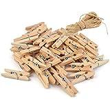 Mini pinzas de madera, 200 con hilo de regalo, para álbumes de manualidades, decoracion, fotos decorativas, bricolage, arte.