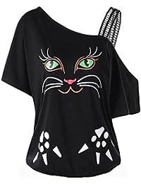 LILICAT Camiseta de Gran tamaño para Mujer Cat Print, L ~ 5XL, 2018 Mujeres de Moda Sexy Fuera del Hombro Ropa de Encaje Desigual Camisas de Manga Corta Tops de Verano Blusa (2XL, Negro)