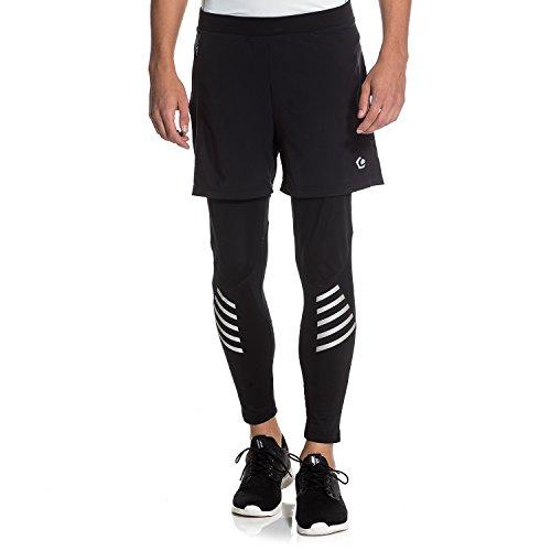 Gregster PRO Herren Laufhose in schwarz | enge und lange Lauftight mit direkt verbundener Shorts | Sporthose perfekt geeignet zum Laufen...