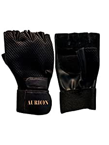 Aurion Sports / Gym Gloves, Full Palm Protection & Extra Grip & Anti-Slip Weight Lifting Gloves for Workout, Training, Fitness, Bodybuilding and Exercise - Men & Women (BLACK)