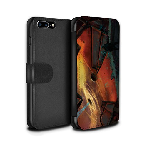 Offiziell Chris Cold PU-Leder Hülle/Case/Tasche/Cover für Apple iPhone 7 Plus / Pack 6pcs Muster / Galaktische Welt Kollektion Schwarzes Loch