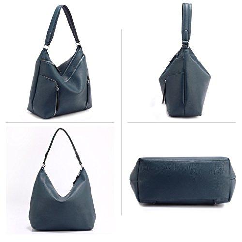LeahWard Damenmode Mittlerer Schulter Handtaschen Weiche Zipper Faux Ledertaschen 00529 (Kaffee) Dunkelblau