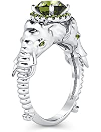 Silvernshine Halo Round Cut Simulated Peridot CZ Diamond 18K White Gold Plated Elephant Ring