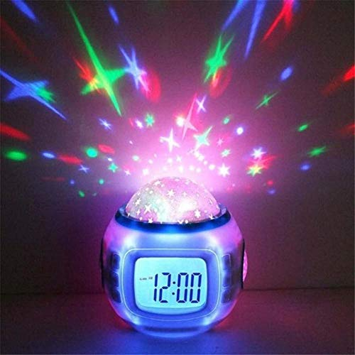LXJSTP Led Digital Wecker Snooze Starry Star Glowing Wecker Für Kinder Baby Raumkalender Thermometer Nachtlicht Projektor