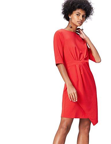 FIND Vestido Drapeado para Mujer, Rojo (Rot), 46 (Talla del Fabricante: XX-Large)
