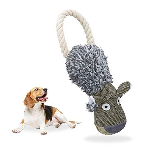 Relaxdays Hundespielzeug Wolf, quietschend, mit Seil, Ziehspielzeug kleine & große Hunde, robust, Hundekuscheltier, grau -