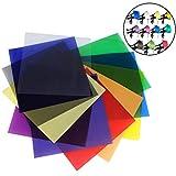 YANSHON Gelatine Flash Filtri Fotografici 11pz Gelatine Fotografiche Gelatina Fogli Filtri Colore Universale Filtri Colorati Trasparenti Filtro Colorato Gelatina in Gel per Correzione Colore 30x30cm