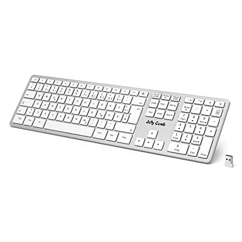 Jelly Comb Kabellose Tastatur 2.4G Wireless Keyboard Full-Size, QWERTZ Deutsches Layout, Weiß