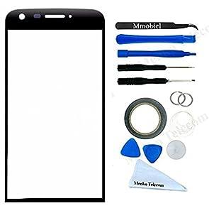 Front Glas für LG G5 H820 H830 H850 VS987 LS992 US992 Schwarz Display Touchscreen mit 12 tlg. Werkzeug-Set / passgenauem PreCut Sticker / Pinzette / Rolle 2mm Klebeband / Saugnapf / Metall Draht / Mikrofasertuch MMOBIEL