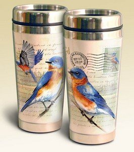 Vintage Bird Series 16oz Steel Travel Mug (Eastern Bluebird Postcard) by American Expedition