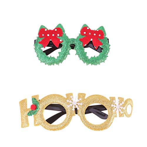 Urlaub Kostüm Paare Für - Amosfun 2 Paare Brillen plüsch weihnachtsmützen Weihnachten roter Hut Sankt bart Rentier Weihnachtsbaum Brille Unisex Brillen Cosplay kostüm Weihnachten Urlaub partydekorationen