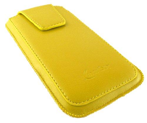"""Emartbuy® Sleek Série Orange Luxe cuir PU Étui Coque Case Cover en cuir PU ( Taille 3XL ) avec Languette Push Up et Rabat Magnétique adapté pour Apple Iphone 6 6G 6S 4.7 """" Pouce Jaune Sleek Série Poche"""