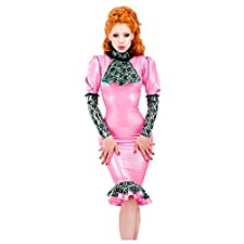 Bordelle-L'Amour Jabot Latex Rubber Top. Pearl Sheen Fuchsia with Mint Green Trim.