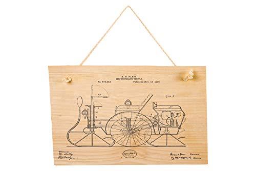 Retroking Vintage Holzbild Motorschlitten Patentzeichnungen, Retro Wanddekoration zum Aufhängen 30x20 cm