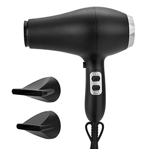 QYY Salon Haartrockner, Negative Ionic Fast Dry Low Noise Fön, 2 Hitze- und 3 Geschwindigkeitseinstellungen, Einstellbarer heißer und kalter Haartrockner mit 2 Düsen