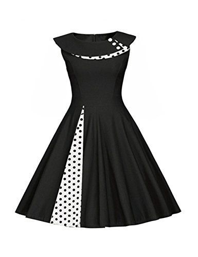 Là Vestmon Damen Retro Swing Cocktailkleid Schwingen Rockabilly Kleid Faltenrock Abendkleider Partykleid Sommerkleid Polka Dot Blau Weiße Punkte Ärmellos