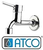 ATCO NINO Kaltwasser Wandventil Kaltwasserhahn Wandarmatur Waschtischarmatur Wasserhahn Gäste-WC Spültisch Waschtisch Ventil Messing chrom