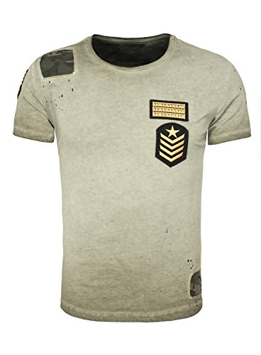 Key Largo Herren T-Shirt DESSERT Camouflage Details Patches Used Look mit Flecken und Löchern grün