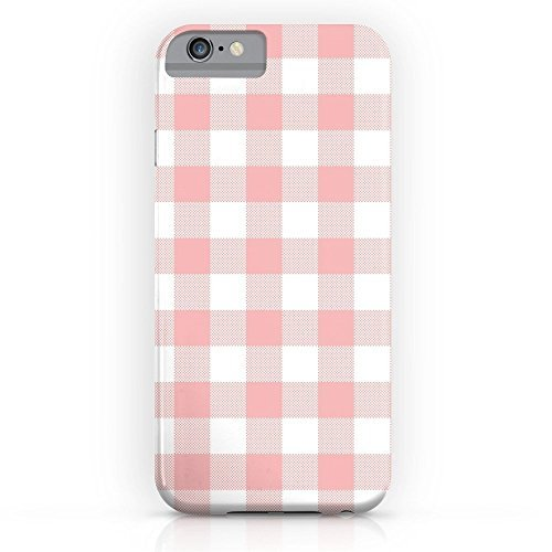 Telefon Fall protectivedesign Hard Back Case Coral Checker Gingham Pink Plaid Slim Case iPhone X mit Tempered Glas Displayschutzfolie von Rocken, Giraffe, iPhone 6 Plus, Rose - 6 Ersatz-bildschirm-pink Iphone