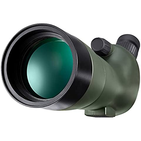 BNISE HD Spotting Scope - GOMU Fully Multi-Coated Optics - Waterproof and Fogproof - 20-60x60 Zoom Monocular Telescope - With Handheld Tripod - with Camera and Phone Photography Adapters