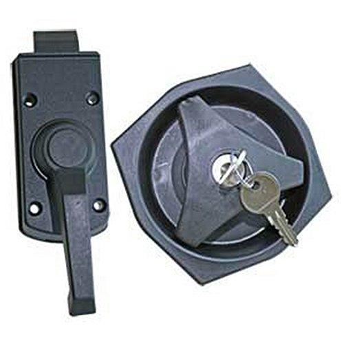 Türschloss komplett inkl 2 Schlüssel Schwarz für Wohnwagen und Wohnmobil Caravan Türschloss Innen/Außen komplett für linke Seite (Einheitsgröße) (Schwarz)