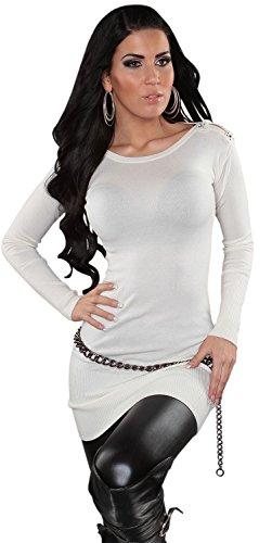 Enzoria uni & pull en tricot pour femme avec strass scintillants taille unique (32–38) Blanc - Ivoire