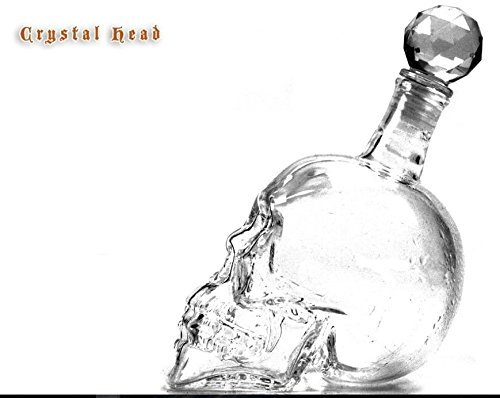 Rocwing - Crystal Skull Head Glass Bottle for Whiskey Shot or Bar Decanter (350ml) (Spezielle One-shot)