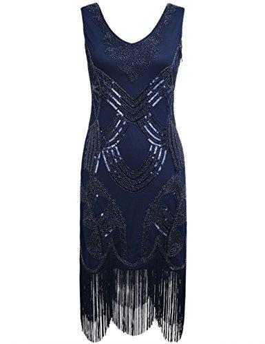 Kayamiya Damen Retro 1920er Jahren Perlen Pailletten Floral Franse Gatsby Flapper Kleid S Blau