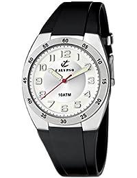 Calypso watches - Reloj analógico de cuarzo para niño con correa de caucho, color negro