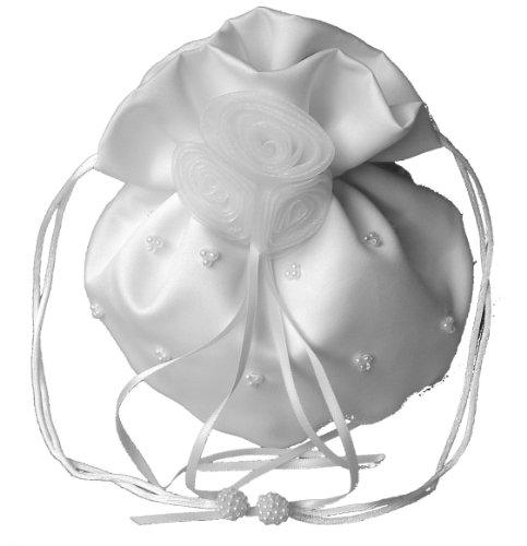 LadyMYP© Edeler Brautbeutel, Brauthandtasche mit Perlen & Organza-Blumen, Hochzeit, Kommunion, weiß/ivory, ca. 16 * 22cm (Weiß)