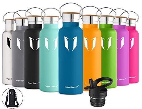 Super Sparrow Trinkflasche Edelstahl Wasserflasche - 500ml & 750ml & 1000ml - Isolier Flasche mit 100%-Zufriedenheitsgarantie   Perfekte Thermosflasche für das Laufen, Fitness, Yoga, Im Freien und Camping, Auto oder Unterwegs   Frei von BPA   Ideal als Wasser Flasche & Sportflasche - mit 2 auswechselbaren Kappen + Wasserflaschen Beutel (Dunkelblau, 750ml-25oz)