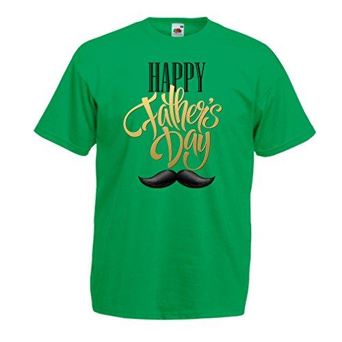 Camisetas Hombre Feliz Día de Padres - Bigote - Regalo para el Mejor papá Nunca (X-Large Verde