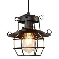 BIUBIUboom_ Vintage Industrial Style Metal Fishermans Cage Ceiling Pendant Light Lamp Shades Christmas Window String Lights Night Ligh