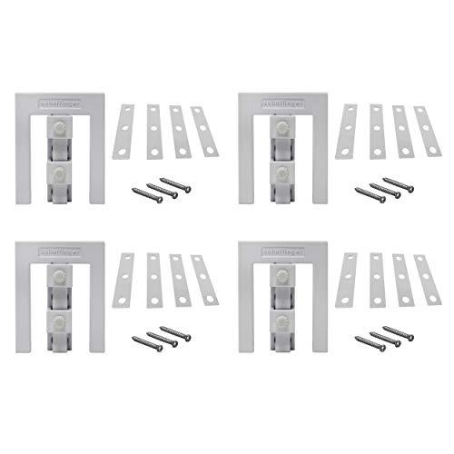 Scheffinger EM3 weiss, Fenstersicherung für Fenster oder Türen aus Kunststoff/Holz/Aluminium, Einbruchschutz DIN zertifiziert, hochwertiger massiver Stahl, 4er Set -