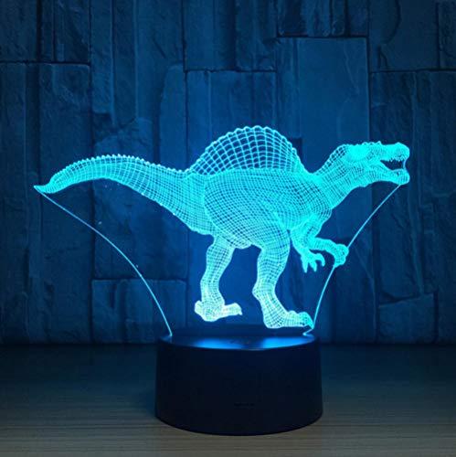 XIHAHAHA Day Deal Lampada LED Dinosaur Lampada 3D 7 colori Touch Sensor Camera da letto Luci Decorazione atmosfera Illuminazione Regali novità