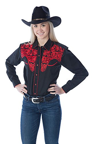 Red Shirt Womens Western (Sunrise Outlet Women's Tooled Western Shirt - Black Red - Large)