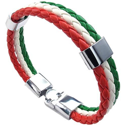 IJEWALRY Damenarmband Armbänder Armband,Mode Persönliche Elegante Schmuck Armband, Italienische Flagge Armreif, Lederlegierung, Für Männer Frauen, Grün Weiß Rot