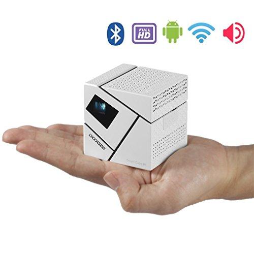 AHECE WiFi Beamer Mini Smart Projektor Videoprojektor LED 3D Full HD Bluetooth Portable 4800mAh, für Multimedia Home Cinema Theater Video Film Spiel Projektor, für Handy / Smartphone / Heimkino / Kinderzimmer / Aussen / Gaming mit Deckenhalterung