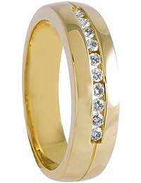 Diamond Line Damen-Diamant-Ring 585 Gelbgold 10 Diamanten ca. 0,20ct. weiß Piqué (W-PI)