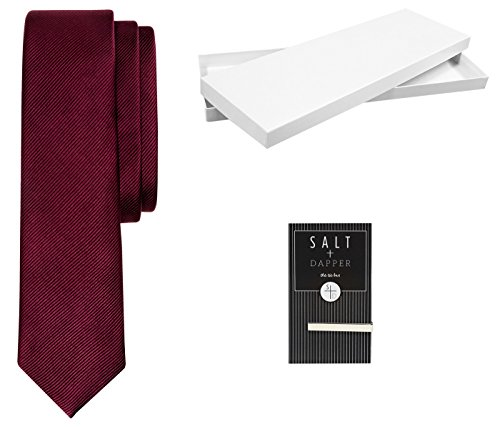 Salt + Dapper Men's Woven Silk Luxury Tie With Tie Bar & Giftbox Burgundy Solid Woven Mens Tie
