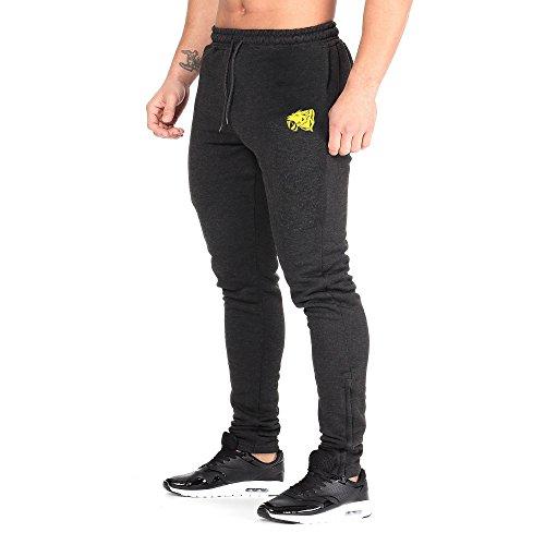 SMILODOX Slim Fit Jogginghose Herren | Trainingshose für Sport Fitness Gym Training & Freizeit | Sporthose - Jogger Pants - Sweatpants Hosen - Freizeithose Lang Anthrazit/Gelb