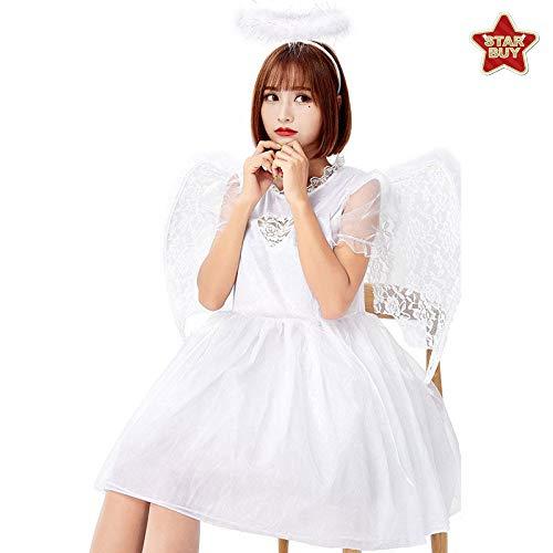 Mesh Kostüm Engel - COSOER Teufel Und Engel Cosplay Kostüm Flügelrock Fallen Engel Kleidung Für Halloween Maskerade,White-M